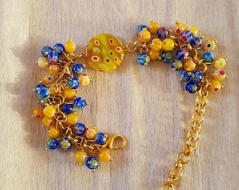 Bracelet with mille fiori glass beads
