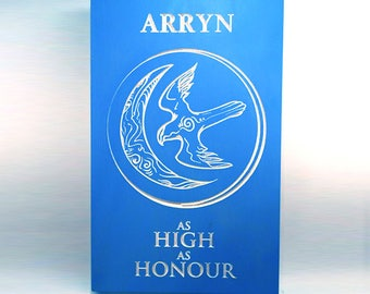 Wood engraved coat of arms (emblem) of the House of Arryn. Game of Thrones.