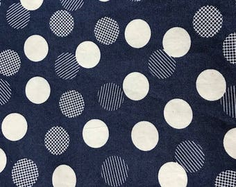 Color Theory by Vanessa Christenson of V and Co for Moda Cotton Fabric 1 Yard Blue Navy and White Dots