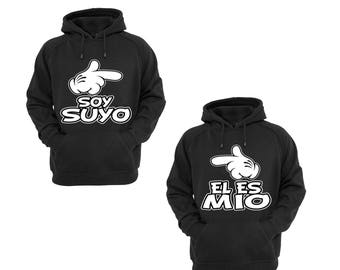 Hoodies for Couple Soy Suyo Disney Mickey Hand and El Es Mio Minnie Hand Couple Goal Shirts