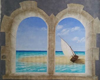 maritime decor painting on canvas 120 * 150