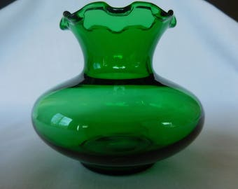 Green Glass Bud Vase by Anchor Hocking