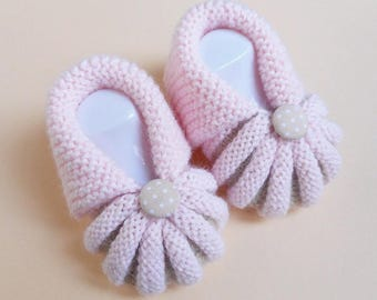 In the Dordogne Pumpkins by hand knitted baby booties - pink and Beige
