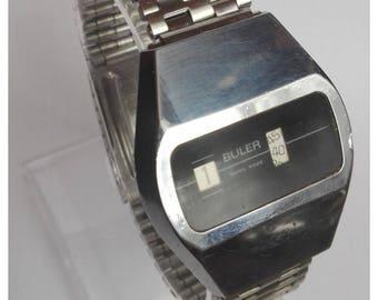 Buler swiss made mechanical jump hour 1970's wristwatch