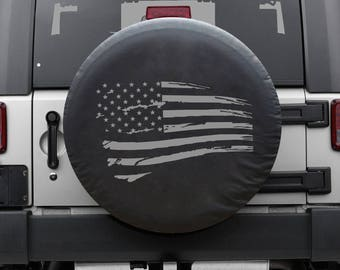 Distressed Flag -Tire Cover