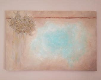 Sky Blue Cloud Abstract Painging/Mixed Media