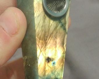 Labradorite smoking pipe