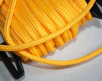 6 mm Braided Cord POLYESTER= 1 Spool= 22 Yards= 20 Meters Elegant Rope Yellow Decorative Rope Macrame Rope Macrame Cord Polyester Fabric