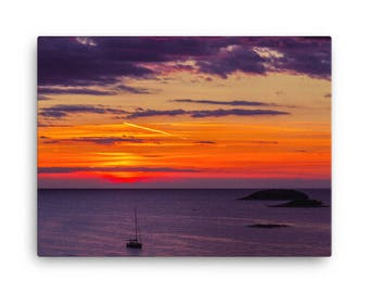 Boat in a Sunset - High Quality Canvas Print