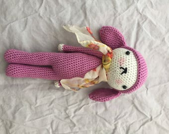 Crochet rabbit with scarf