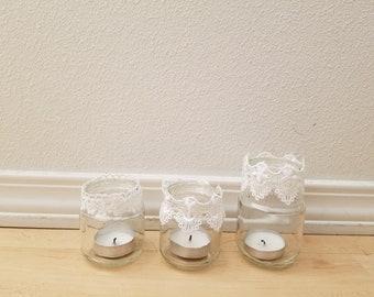 50 plus boho/vintage handmade lace candle votives