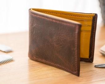 Large Horween leather bifold wallet UK - 6 card - no coin - cardholder - card holder - linen
