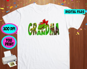 TMNT. Iron On Transfer. Tmnt Printable DIY Transfer. Tmnt Grandma Shirt DIY. Instant Download. Digital Files Only.