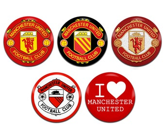 5x Manchester United Man Utd Football Soccer 25mm / 1 Inch D Pin Button Badges