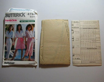 Misses Top, Pants, Shorts, Sash – Fast & Easy Sweing Pattern–Butterick 4109 Vintage 1989  - Family Circle Collection