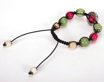 Woven bracelet with onyx and agate