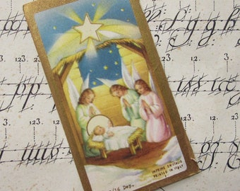 1920s Italy Vintage Gilded Prayer Cards Christmas Nativity ~ Set of 5 ~ Baby Jesus In Manger Angels