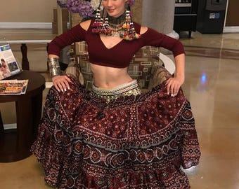 25Yard Tribal Gypsy Durga Skirt~Rich Burgundys&Reds~