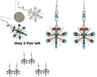 Zuni Inlaid Dragonfly Dangle Earrings French Hooks By Wayne Haloo