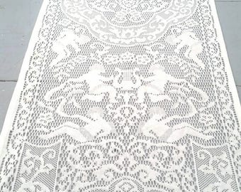 Long White Lace Cherubs Romantic Runner. Long White Lace Runner. Vintage Wedding table decor. Romantic decor.