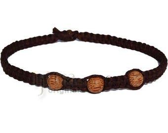 Dark brown wide flat hemp necklace with three palm wood beads