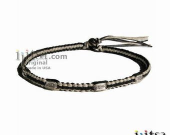 Black and Natural Hemp Silver Fishes Surfer Style Choker Necklace