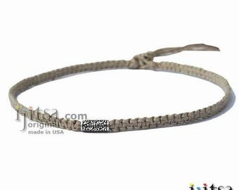 Natural Flat Hemp Surfer Style Choker Necklace Silver Fancy Tube Tribes Bead