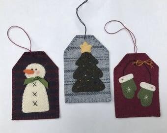 kits; wool ornaments/gift tags, really cute, fun to make