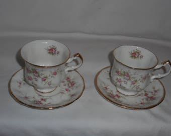 Paragon Victoriana Rose Demitasse Coffee Cups & Saucers Pink Roses Her Majesty The Queen England