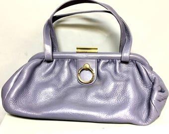 "PASTEL Vintage 50s Lavender LEATHER Handbag / 1950's ""CONTINENTAL"" Leather Purse"