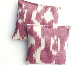 Organic Lavender Sachets Red and White Ikat Cotton & Linen Organic Lavender Set of 2 Natural Home Limited Edition