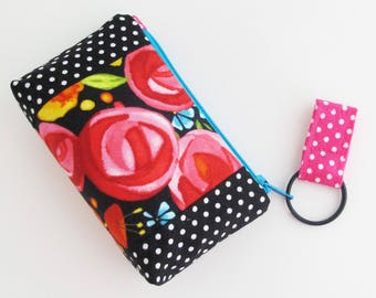 Zip Top Mini Wallet | Black and pink floral and polka dot fabric zipper pouch to use as a small wallet, business card case, or change purse.