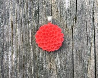 Resin Flower Pendant - Red