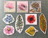 One set of 9 art stickers journal planner stationery nature floral garden designs flowers