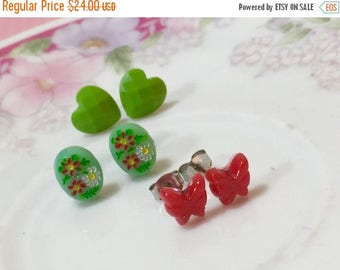 Christmas in July SALE. Earring Set, Tiny Red Butterfly Studs, Red Green Floral Cameo Studs, Faceted Green Heart Studs, Stocking Stuffer Ide