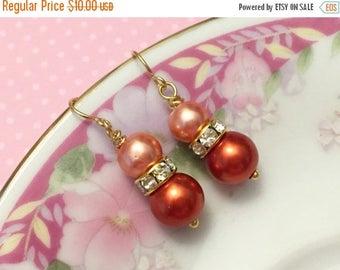 SALE Orange Pearl Earrings, Orange Rhinestone Earrings, Orange Pearl Drop Earrings, Short Dangle Earrings, Orange Earrings, KreatedByKelly (