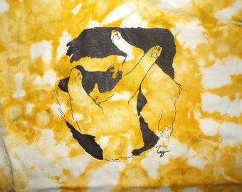 funky yellow tie dye cat t-shirt men's size Medium