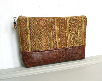 Large Zipper Pouch, Zippered Makeup Bag, Cosmetic Case - Balustrade Stripe in Gold, Bronze and Rust