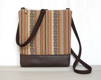 Zipper Crossbody Bag, Cross Body Purse, Small Hip Purse -  Sedona Stripe in Coral, Tan and Brown