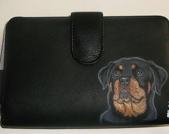 Rottweiler Dog Hand Painted Ladies Leather Wallet