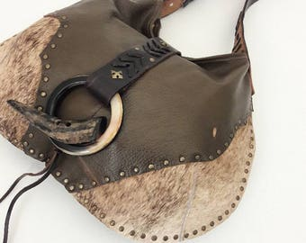 SALE Olive Green, Brindle & Black Hobo Bag with Horn Toggle
