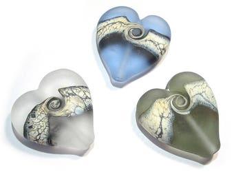 Handmade Glass  Lampwork Beads, Pastel Neutral Heart Beads