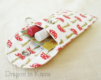 Mushroom Lip Gloss Holder - Tall or Short Red Toadstool Insulated Keychain Snap Pouch, Cotton Lip Balm Case, Botanical Fungi Card Wallet