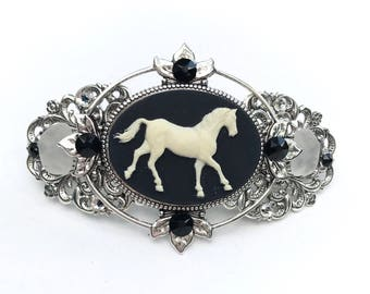 Hair Barrette Black and  Creamy White Horse Cameo with Beach Glass and Crystal Accents