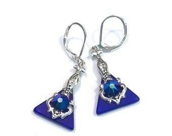 Cobalt Blue Earrings - Stained Glass Earrings - Swarovski Cobalt Shimmer- Leverback Earrings