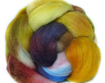 MERINO SILK BAMBOo roving top handdyed spinning fibre 3.8 oz