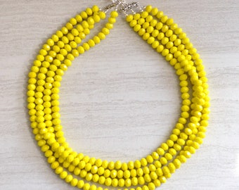 The Aria- Yellow Glass Statement Necklace