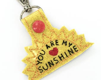 Best gifts for teens - Sunshine - keyfob - backpack dangle clip - encouragement gift - ways to say i love you - inspirational gift ideas