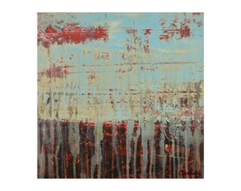 "ORIGINAL Abstract Painting on Wood 12x12"" Minimalist Landscape Art, GeoHorizon 120 by Lisa Carney, Turquoise, Red, Brown, Blue, Beige"
