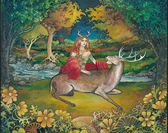 Elen of the Ways Goddess of the Wildwood Original Painting Celtic Pagan Witch Forest Goddess Art